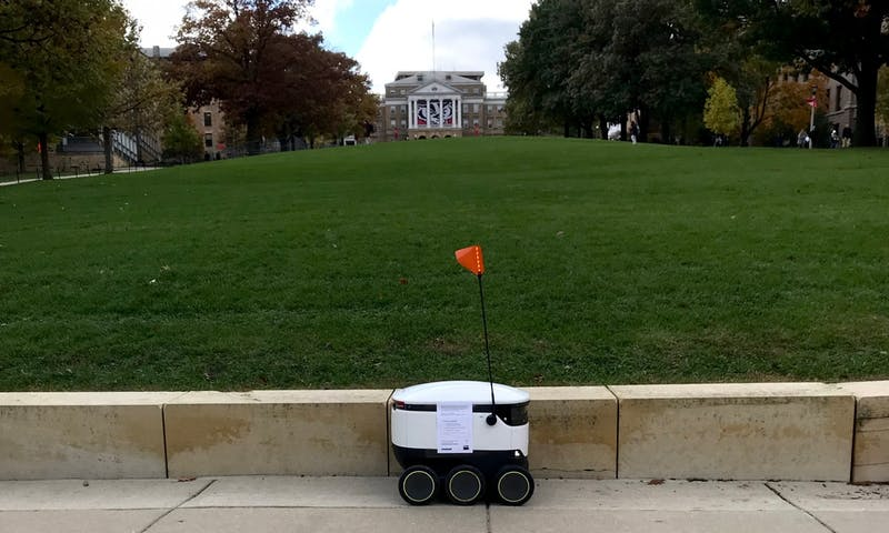 Starship Robots deliver food from dining halls on campus to various residence halls.