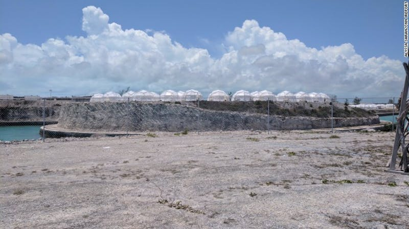 The left over hurricane shelter tents were used in place of promised luxury accommodations at the failed Fyre Festival.