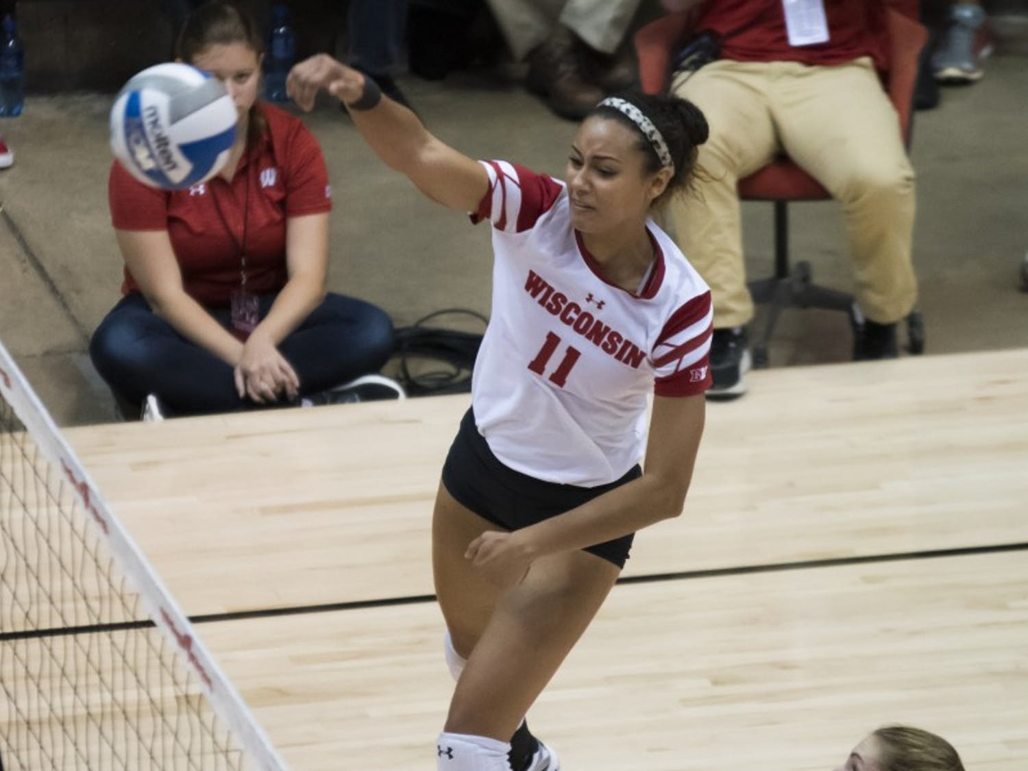 Senior middle blocker Tionna Williams hit .636 percent with seven kills as the Badgers swept the Green Bay Phoenix to advanced to the next round of the NCAA Tournament.