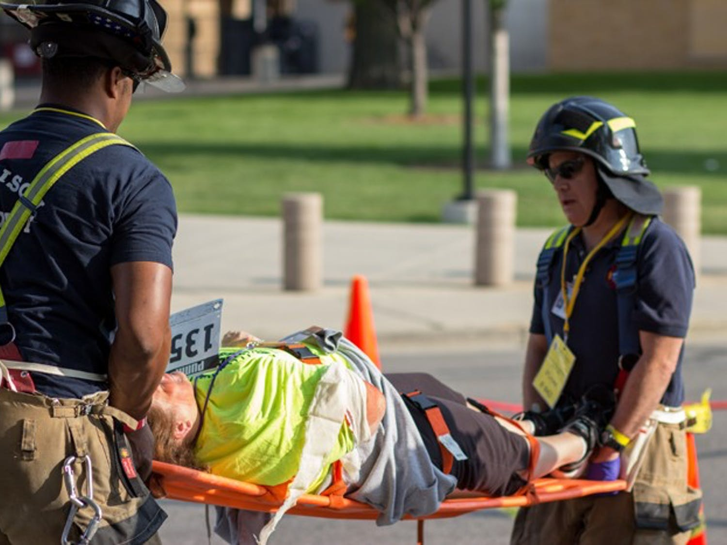 The University of Wisconsin-Madison Police Department held a training exercise simulating a bomb detonation at Camp Randall Stadium Thursday, July 17. The event involved hundreds of officers from almost 20 agencies and volunteer actors to simulate injuries and deaths. The university held press conferences to update mock journalists on the situation.
