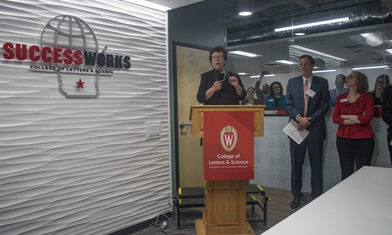 Chancellor Rebecca Blank spoke at the SuccessWorks grand opening Wednesday on the third floor of the University Book Store.