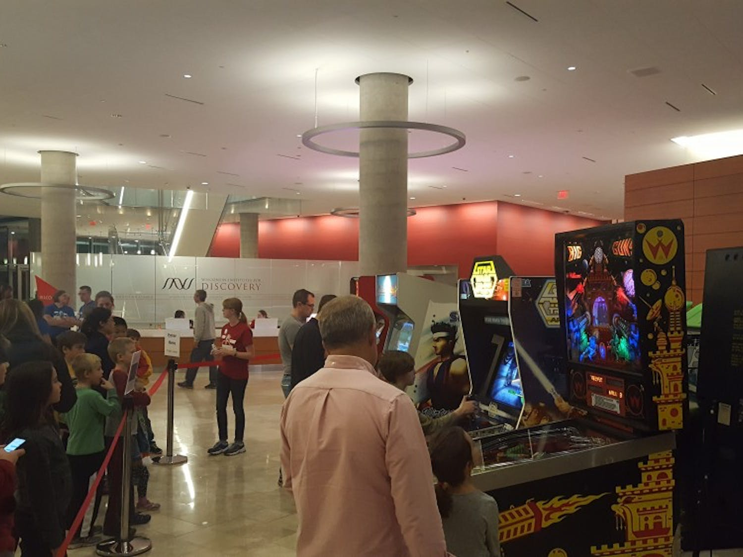 The Science Festival at the Wisconsin Institute for Discovery featured an array of vintage arcade style games that offered an opportunity for attendees of all ages to learn about science.