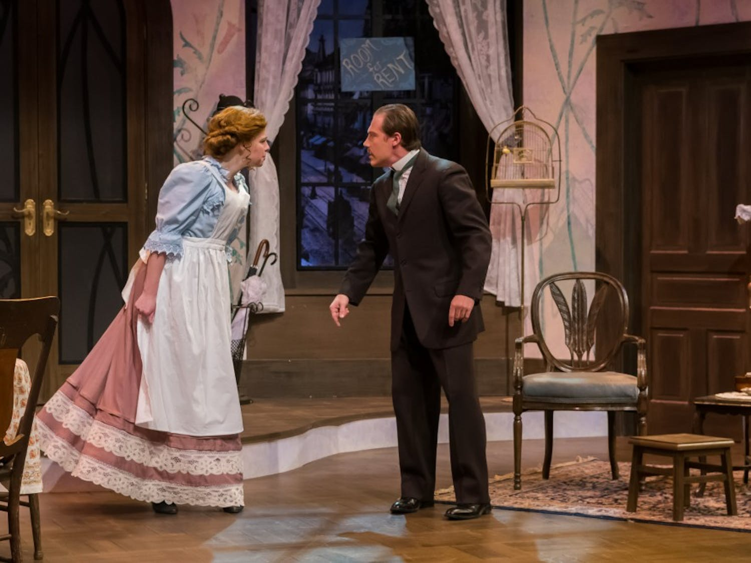 """Kerry Billings and Kyle Wessel star inUniversity Theatre's production of """"The Underpants,"""" showingfrom April 13 to 30 at Mitchell Theatre."""