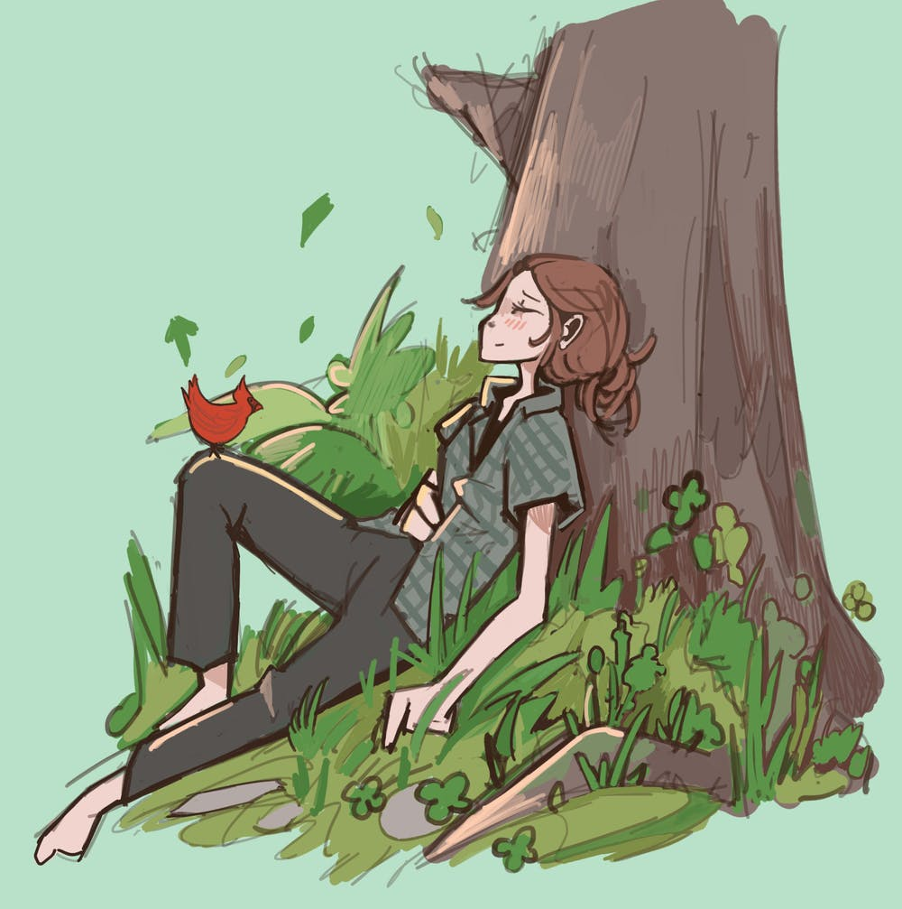 Graphic of a women sitting against a tree with a cardinal perched on her knee.