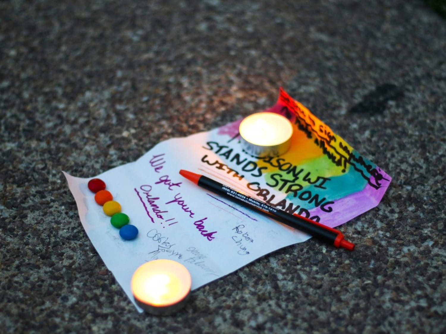 Members of the Madison community organized candlelight vigils in the days following the Orlando, FL mass shooting in a popular gay night club. The vigils were held in support of the victims, their families and the LGBT community as a whole.