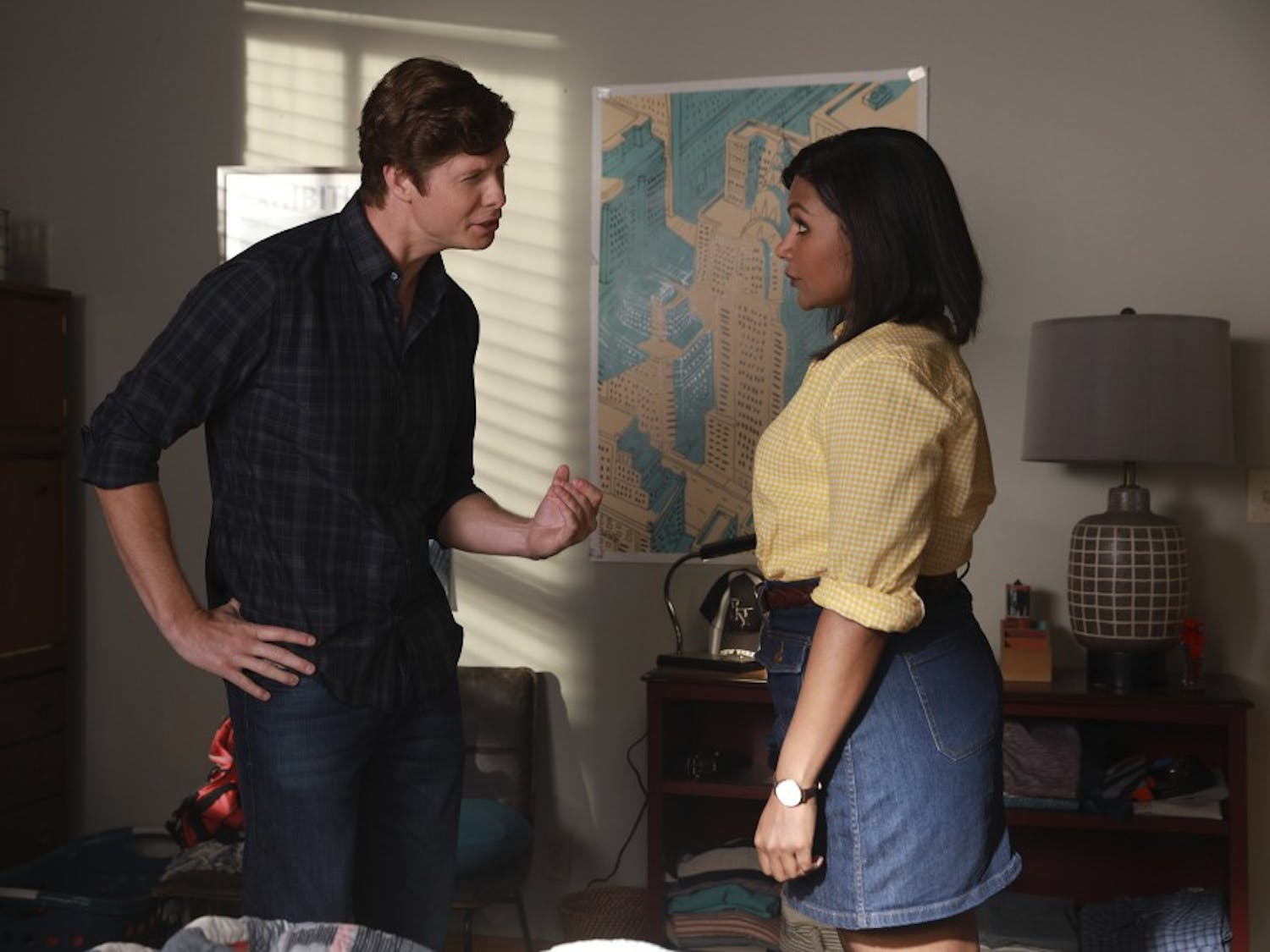 CHAMPIONS -- Pilot -- Pictured: (l-r) Anders Holm as Vince, Mindy Kaling as Priya -- (Photo by: Jordin Althaus/NBC)