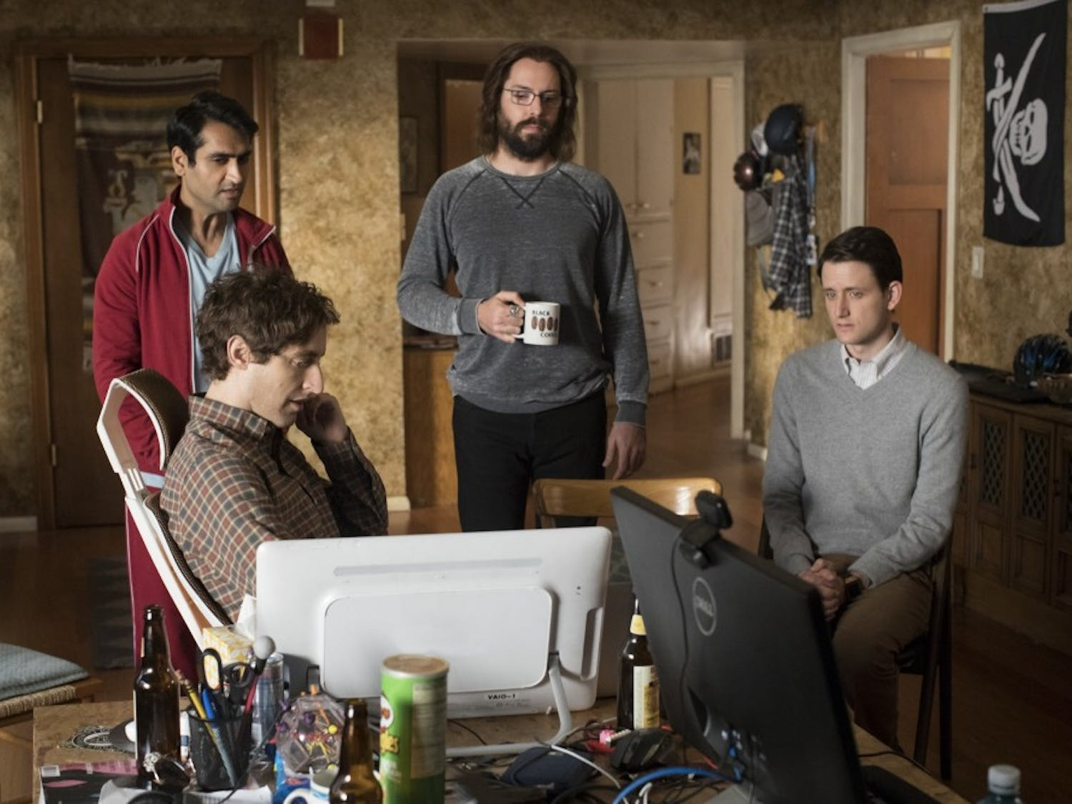 """Thomas Middleditch, Kumail Nanjiani, Martin Starr and Zach Woods star in """"Silicon Valley,"""" thenew season premiering tonight at 10 p.m. on HBO."""