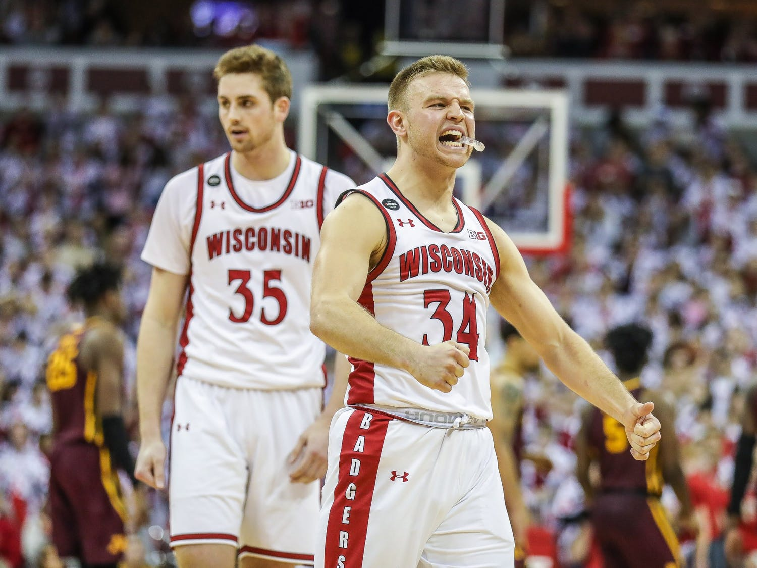 Brad Davison led the Badgers in scoring with 15 points, also adding seven assists to his total.
