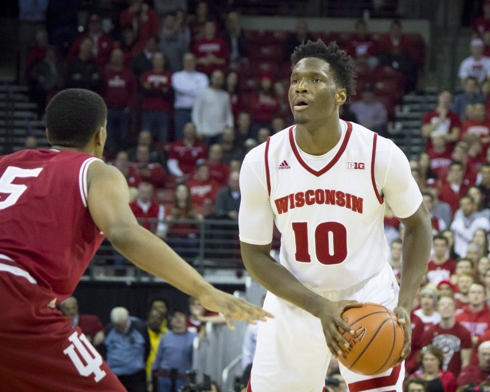 <p>Along with Jordan Hill, Nigel Hayes has participated in a quiet protest of the National Anthem this season.</p>