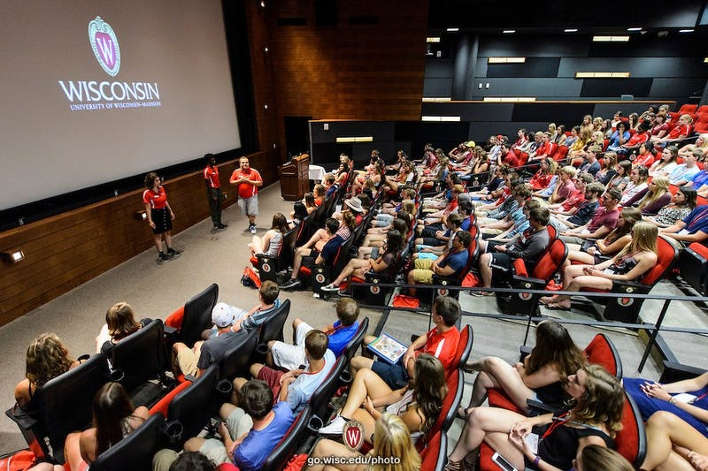 From left to right, new-student leaders Selin Gok, Kennedie King and Justin Sparapani -- who are also members of the First Wave Hip Hop and Urban Arts Learning Community -- present an emotional performance based on themes of oppression and acceptance in front of a group of  incoming first-year undergraduates during a Student Orientation, Advising and Registration (SOAR) session at Union South at the University of Wisconsin-Madison on June 20, 2016. Sponsored by the Center for the First-Year Experience, the two-day SOAR sessions provide new students and their parents and guests an opportunity to meet with staff and advisors, register for classes, stay in a residence hall, take a campus tour and learn about campus resources. (Photo by Jeff Miller/UW-Madison)