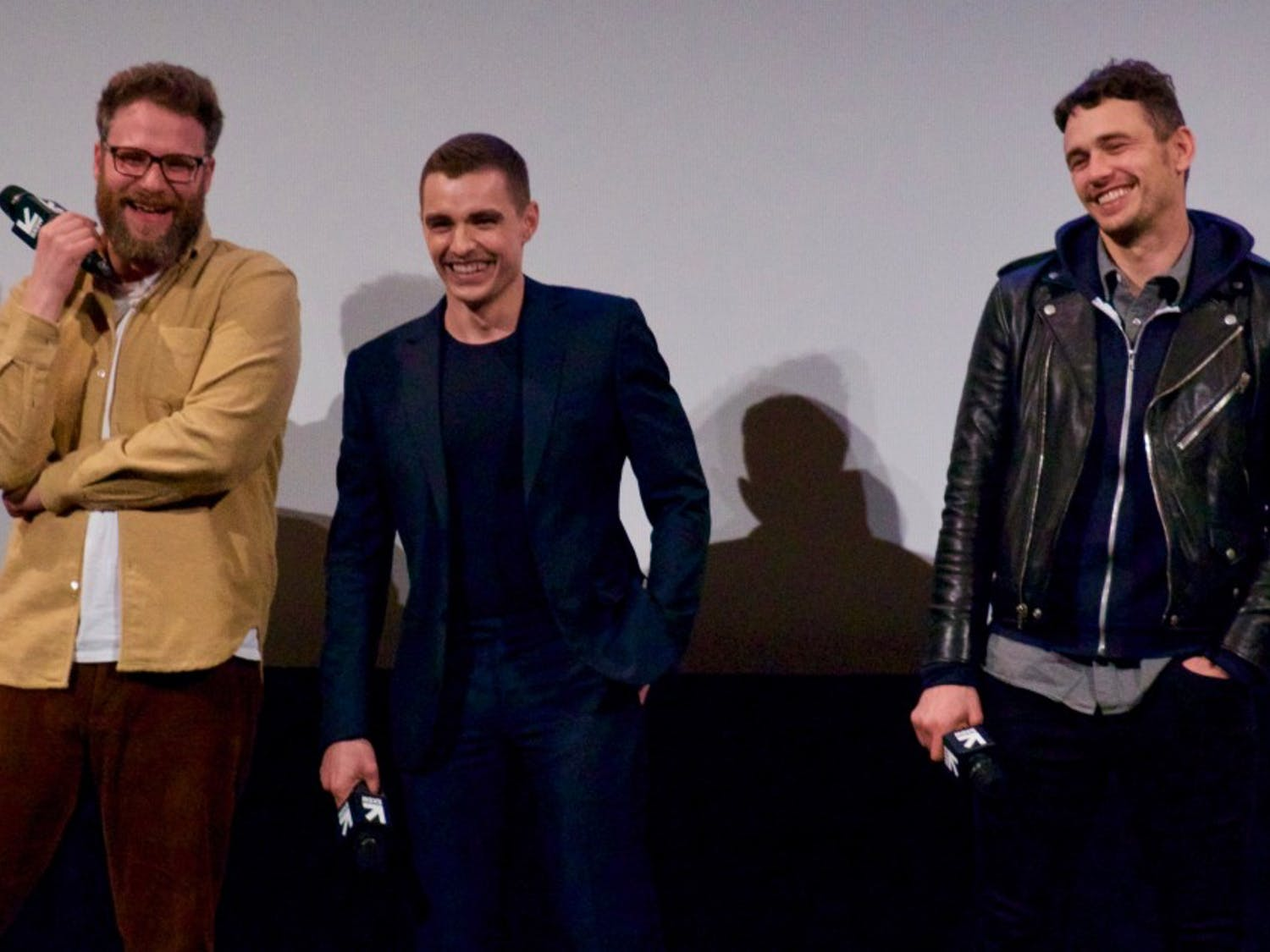 """From left: Seth Rogen, Dave Franco and James Franco at """"The Disaster Artist"""" premiere."""