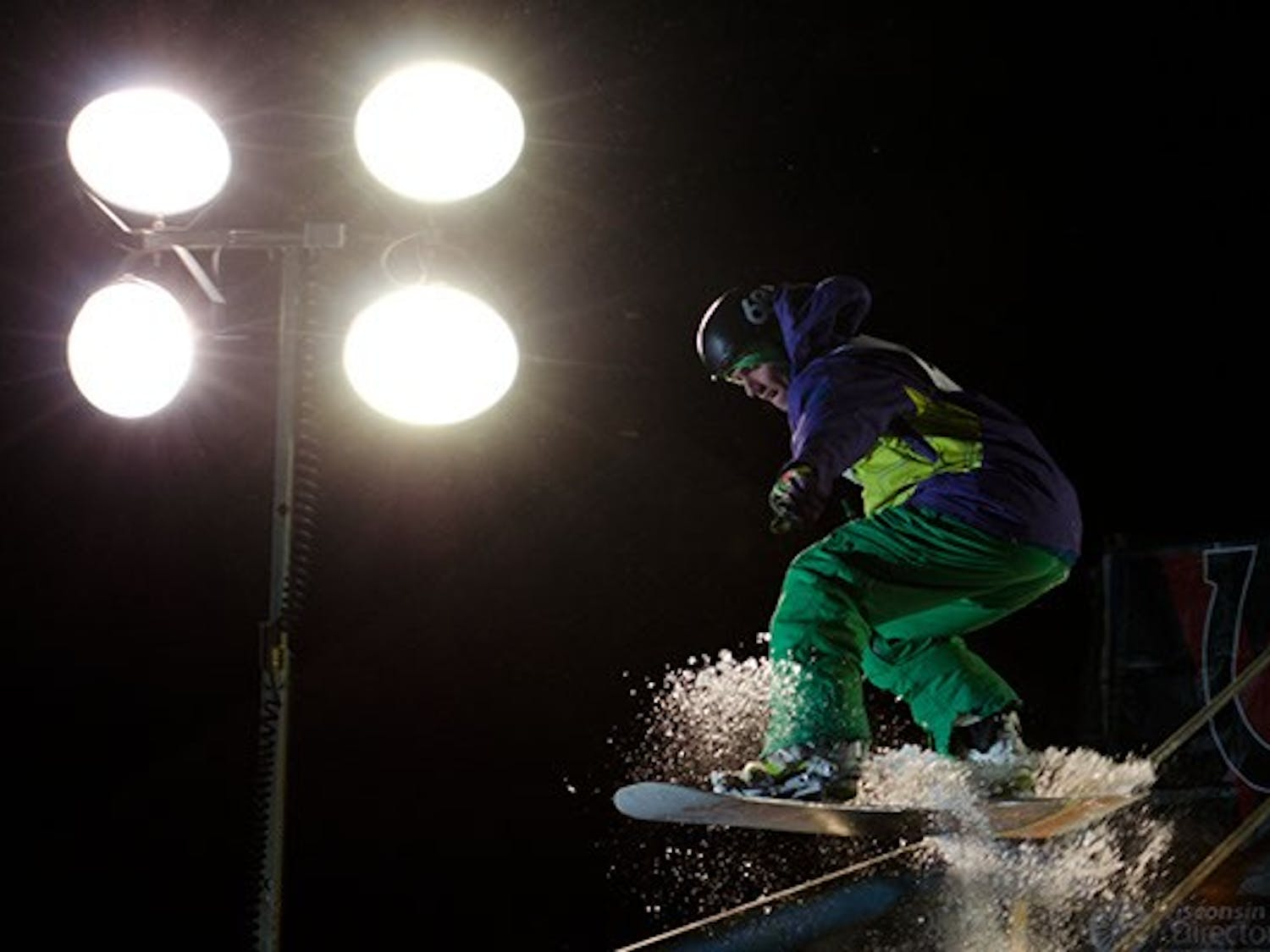 Skiers and snowboarders took to Union South on Thursday night to compete in the 3rd annual Rail Jam sponsored by Hoofer Ski and Snowboard and area businesses including Focus Boardshop.