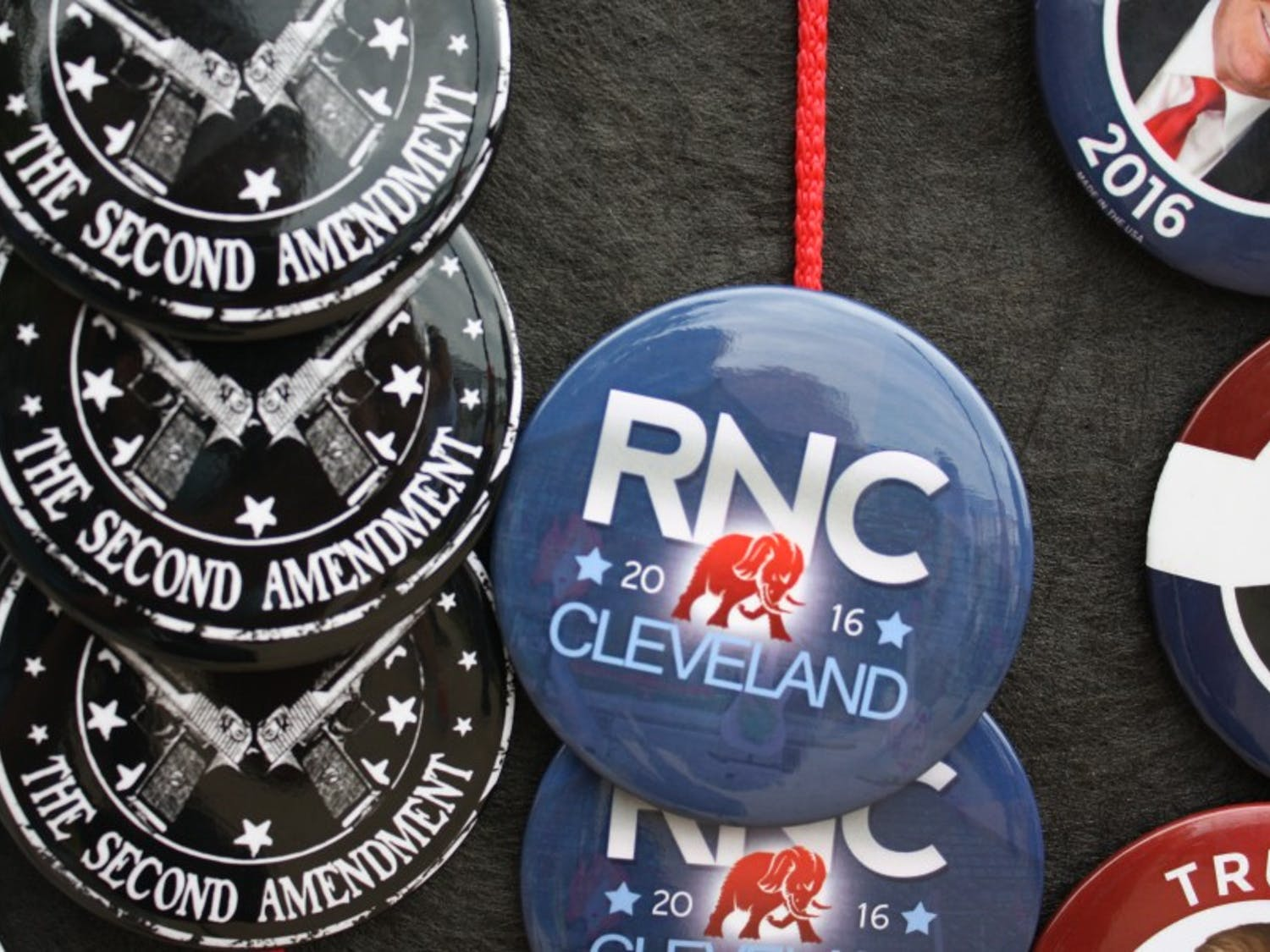 A vendor sells buttons outside the Republican National Convention.