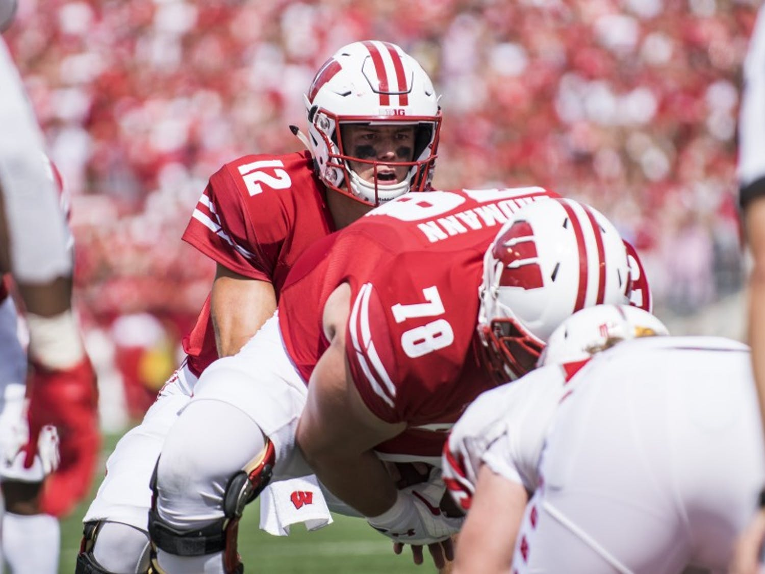 Quarterback Alex Hornibrook is questionable against No. 21 Penn State, one of the many players including senior nose tackle Olive Sagapolu who may be out in this game.