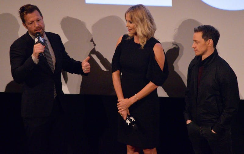 """From Left: David Leitch, Charlize Theron and James McAvoy talk about """"Atomic Blonde."""""""