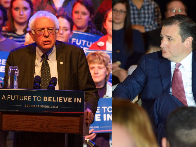 Texas Sen. Ted Cruz and Vermont Sen. Bernie Sanders are leading in Wisconsin's primary race.