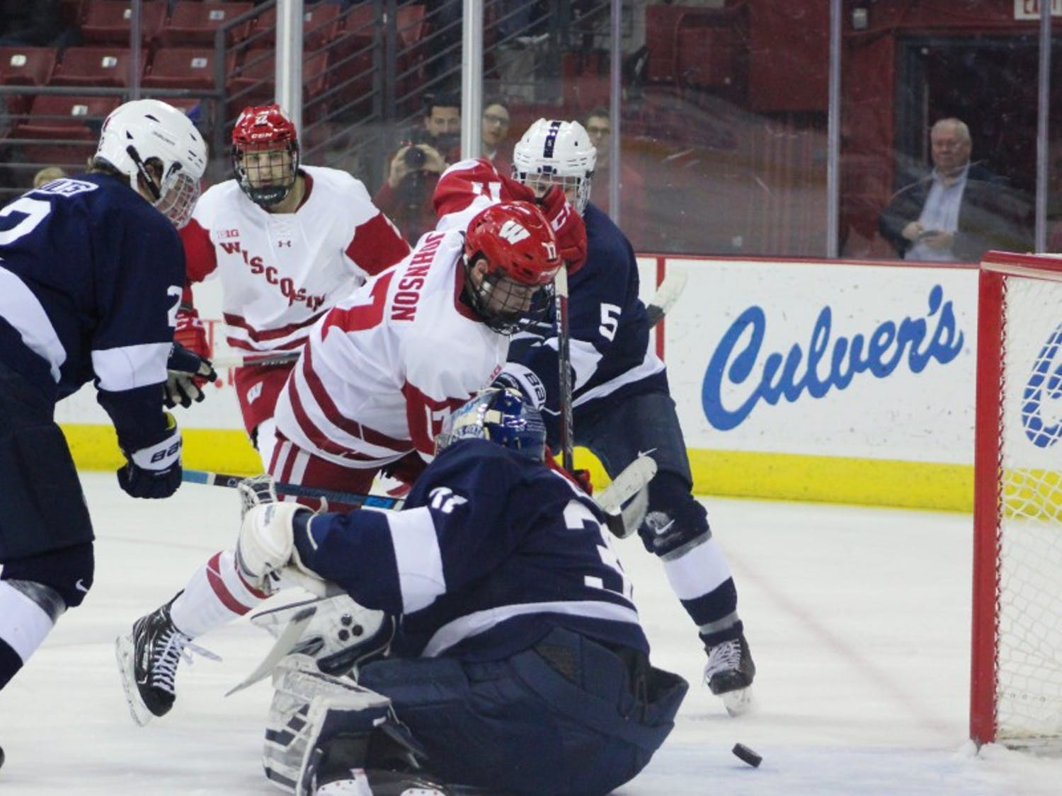 Senior forward Will Johnson scored a pair of goals and contributed valuable physical play to help the Badgers collect their first win in six games.