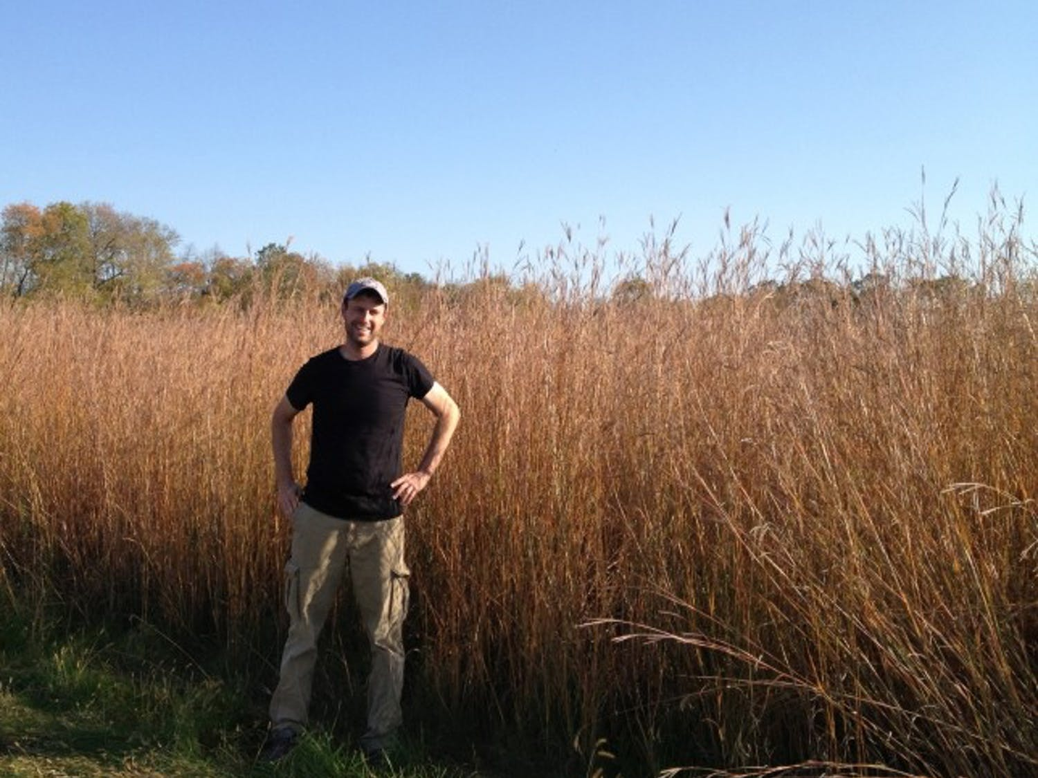 Lead author of the report Peter Blank stands in front of a grassland of bioenergy crops.