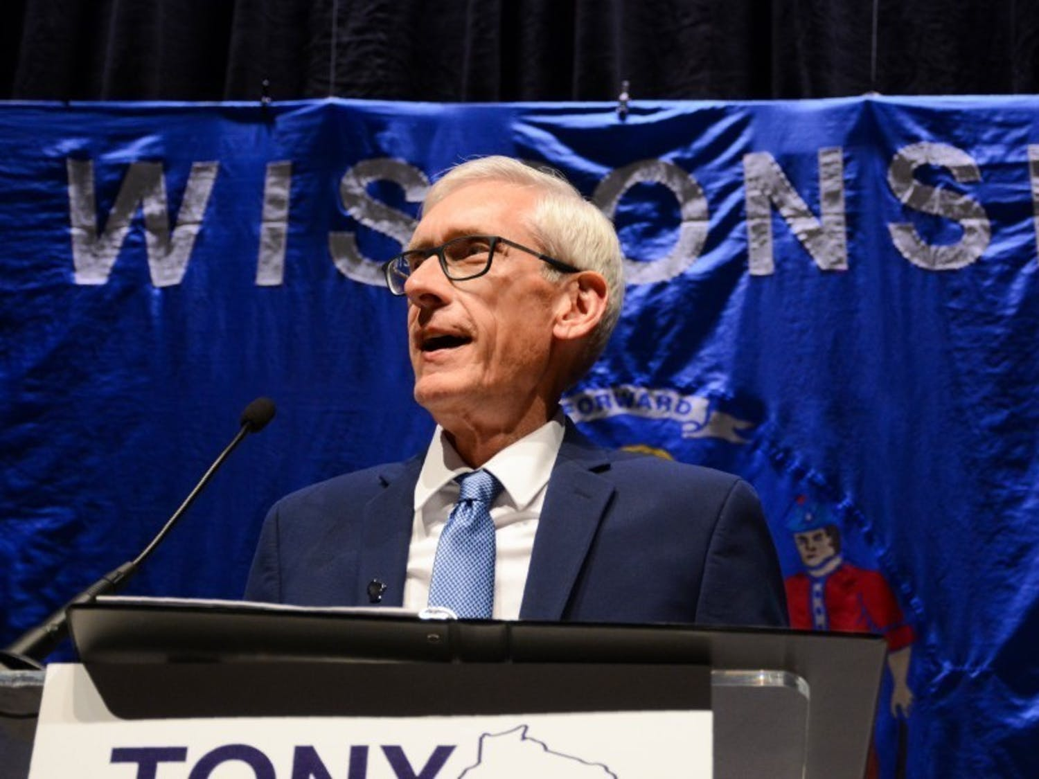 Wisconsin Governor Tony Evers gives a speech