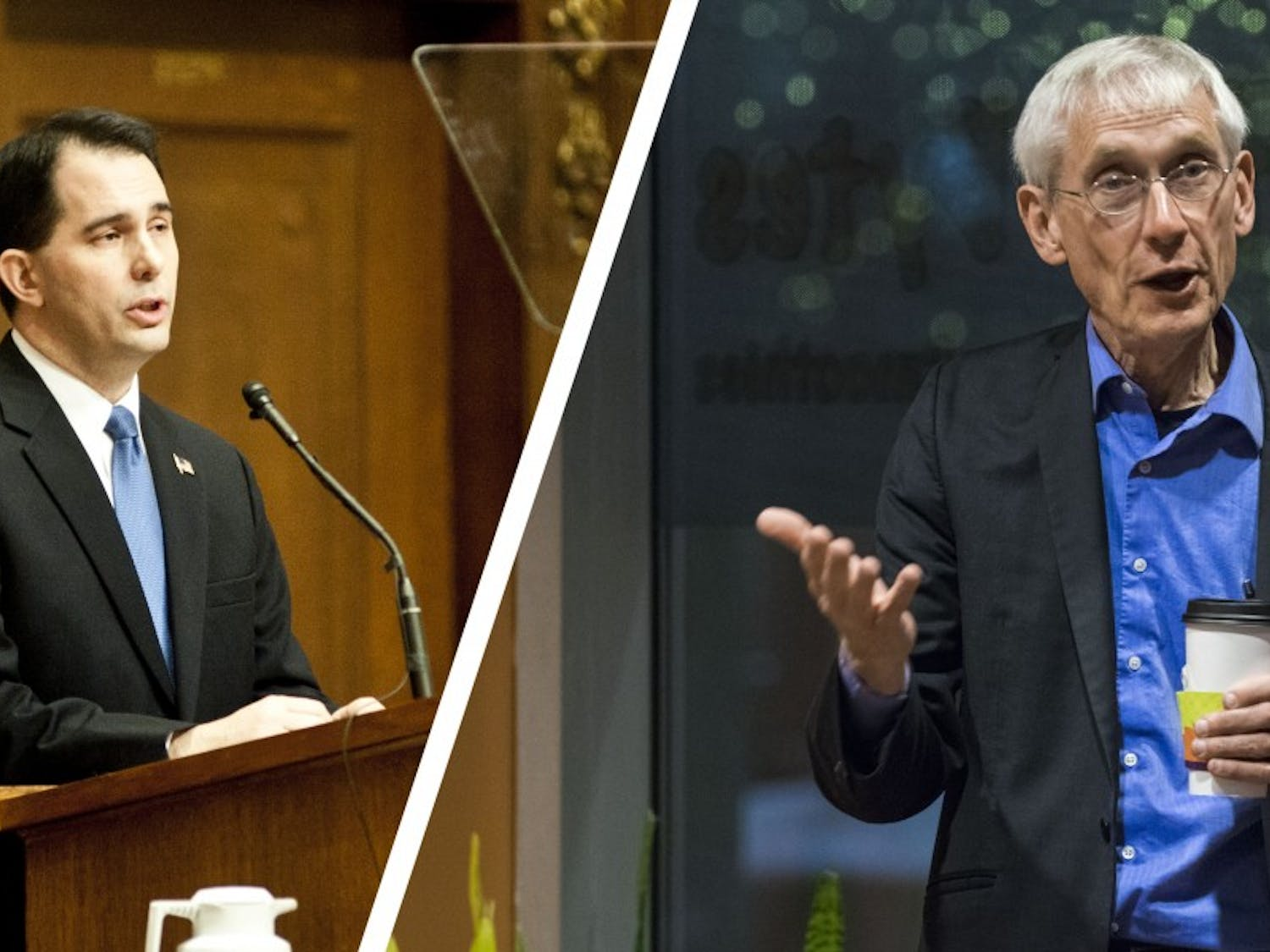 Walker, Evers spar over taxes, healthcare in first debate