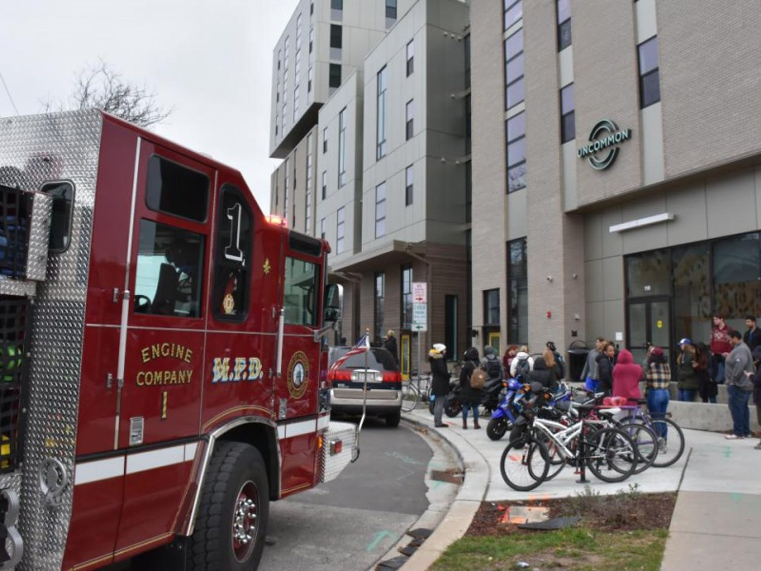 A fire has displaced ten resident of the Uncommon apartments, located on North Bedford street.