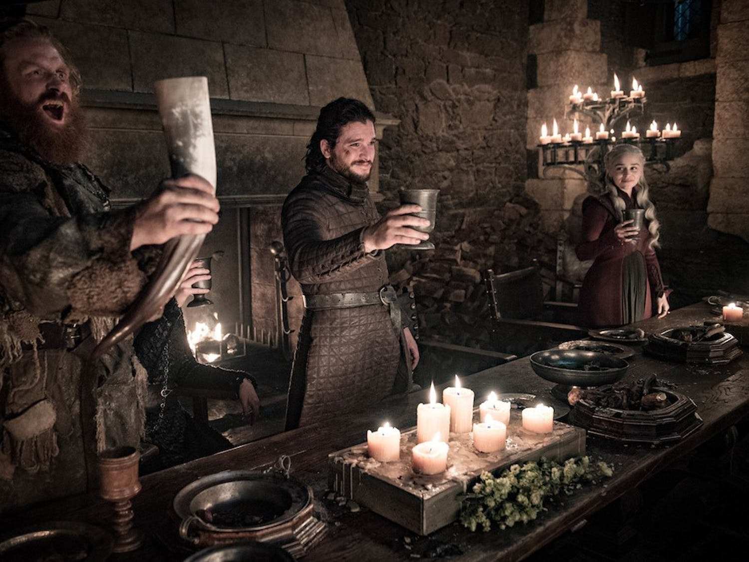 """Celebration was in order in the latest episode of the final season of """"Game of Thrones,"""" as survivors of the war of Winterfell gather in victory."""