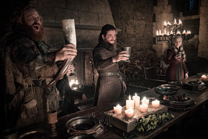 "Celebration was in order in the latest episode of the final season of ""Game of Thrones,"" as survivors of the war of Winterfell gather in victory."