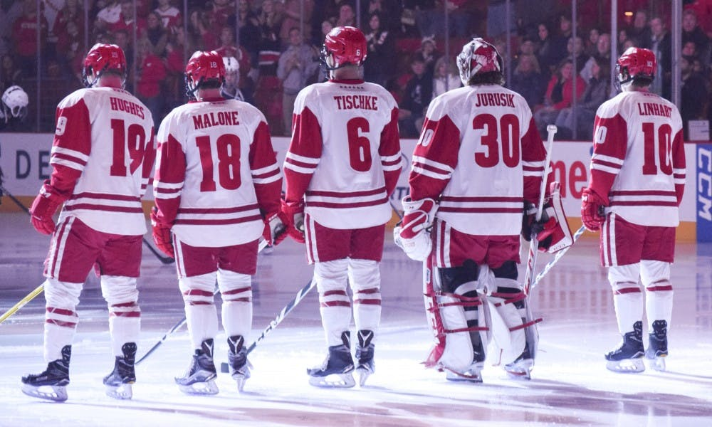 SeniorCameronHughes andjunior Seamus Malone struggled to muster many scoring chances in Wisconsin's 6-2 loss to Notre Dame.