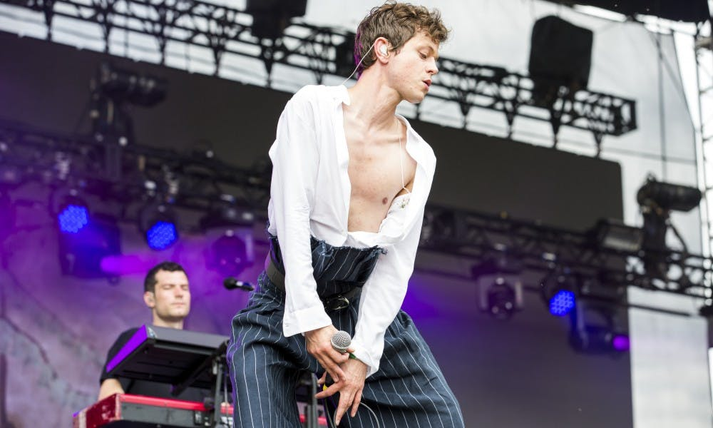Eaux Claires 2017:Perfume Genius aka Mike Hadreasperforming an eccentric set with powerful vocals.