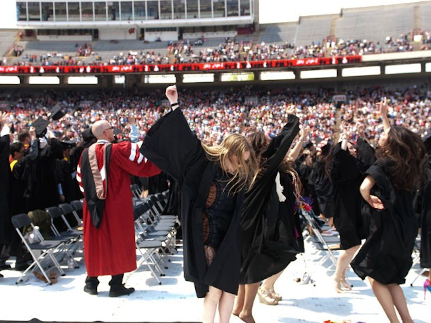 For the first time in over two decades, the University of Wisconsin-Madison's commencement ceremony was held in Camp Randall Stadium. Graduates did not walk across the stage; however they did take part in one of UW-Madison's most popular traditions: Jump Around. Former Utah Gov. Jon Huntsman was the keynote speaker.