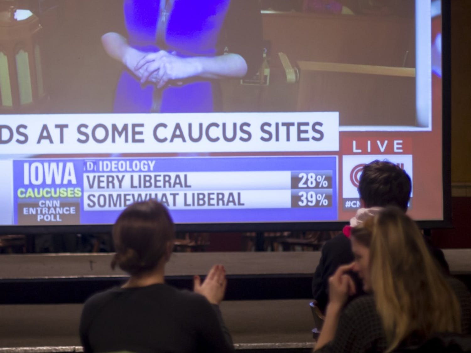 College Democrats of UW-Madison host a watch party to view the Iowa caucus results in real time.