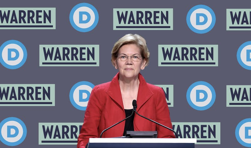 Elizabeth Warren answers questions at a press conference following Super Tuesday.