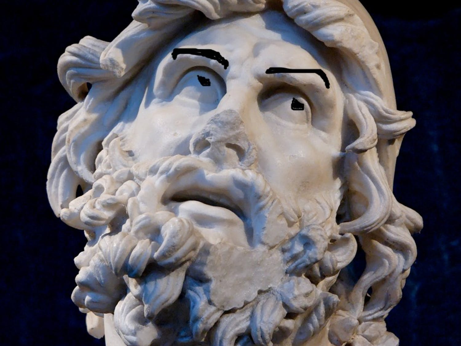 Odysseus pictured rolling his eyes while speaking of his home country.