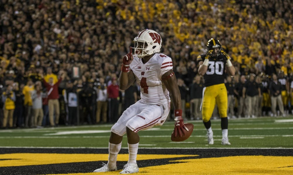 <p>Junior wide receiver A.J. Taylor scored the touchdown to put the Badgers up 21-17 over Iowa. UW eventually won 28-17.&nbsp;</p>