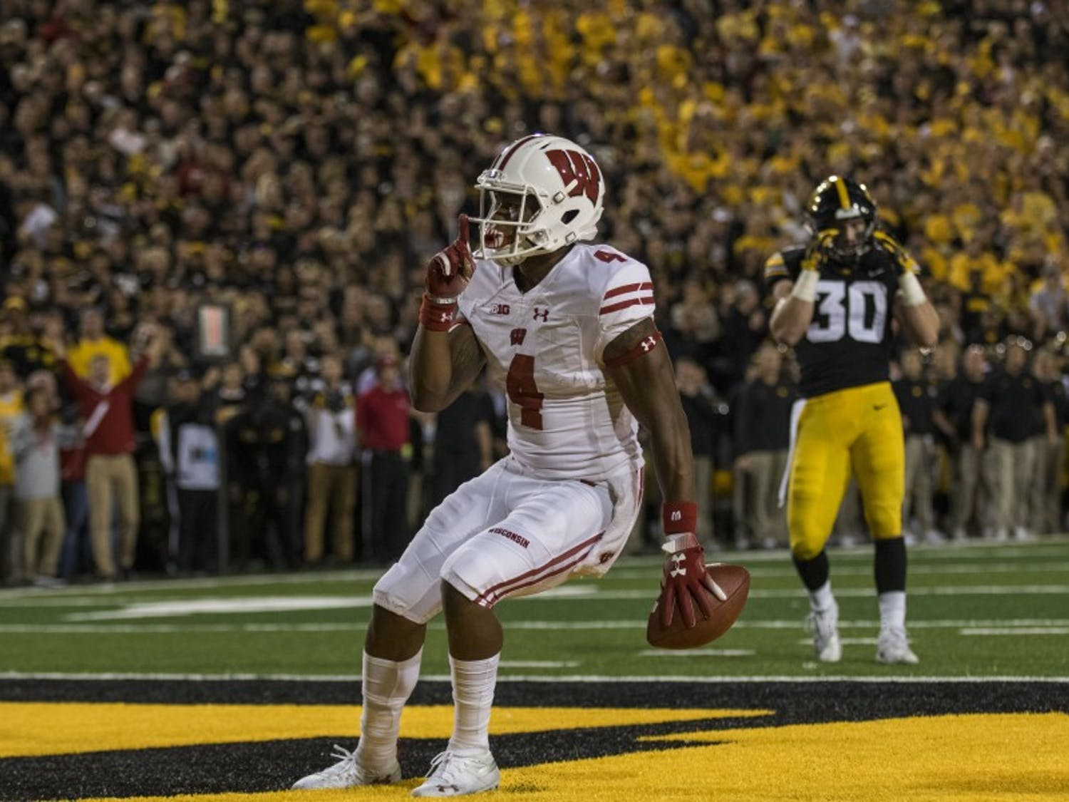 Junior wide receiver A.J. Taylor scored the touchdown to put the Badgers up 21-17 over Iowa. UW eventually won 28-17.
