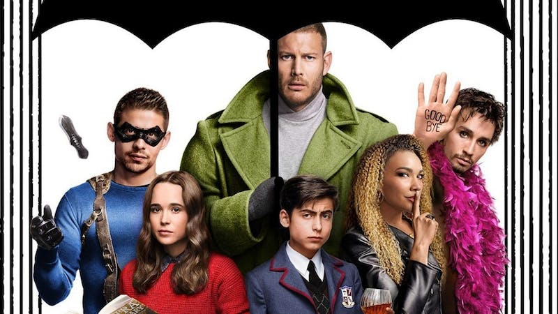 """An adaptation of a comic book series published by Dark Horse Comics, """"The Umbrella Academy"""" features an ensemble cast led by Oscar nominee Ellen Page (bottom left)."""