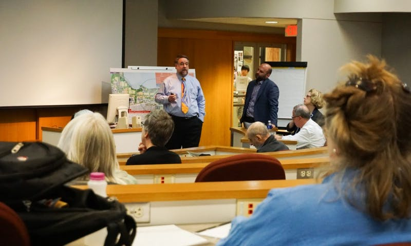 Vice Provost for Libraries Ed Van Gemert and brightspot Director Adam Griff presented their plans for the campus master plan library remodel Tuesday.