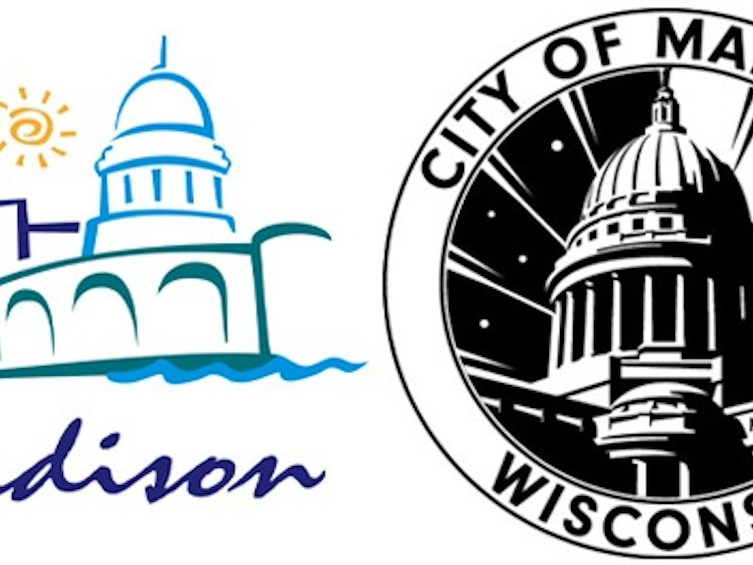 Madison's Common Council adopted a more 'modern' logo, right, at its meeting Tuesday.
