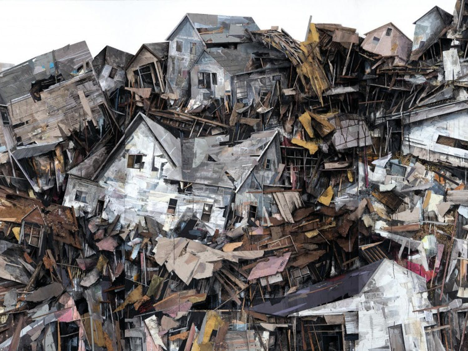 All the pieces in the exhibit aremade out of materials like housing insulation, pieces of wood and metal and represent the struggles of housing insecurity.