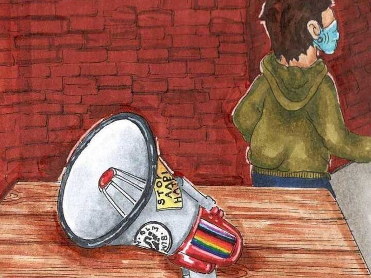 """Graphic of a student activist and a microphone on the table with a BLM sticker, Pride flag, and a sticker that says """"Stop Hate."""""""