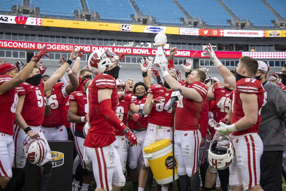 Wisconsin Badgers XXXX during an NCAA Duke's Mayo Bowl college football game against the Wake Forest Damon Deacons Wednesday, Dec. 30, 2020, in Charlotte, NC. The Badgers won 42-28. (Photo by David Stluka/Wisconsin Athletic Communications)