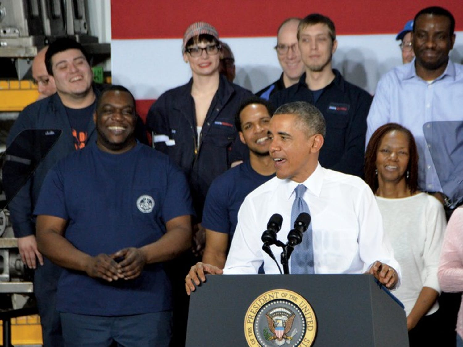 "President Barack Obama addresses General Electric employees at their Waukesha factory Thursday outlining his ""opportunity agenda"" for his ""year of action."""