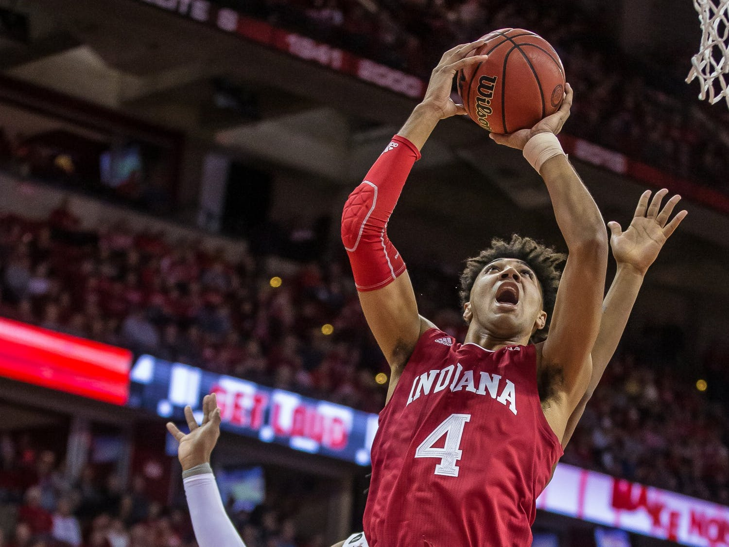 Trayce Jackson-Davis (above) leads the Hoosiers in scoring this season. He changed his number from #4 to #23 this season.