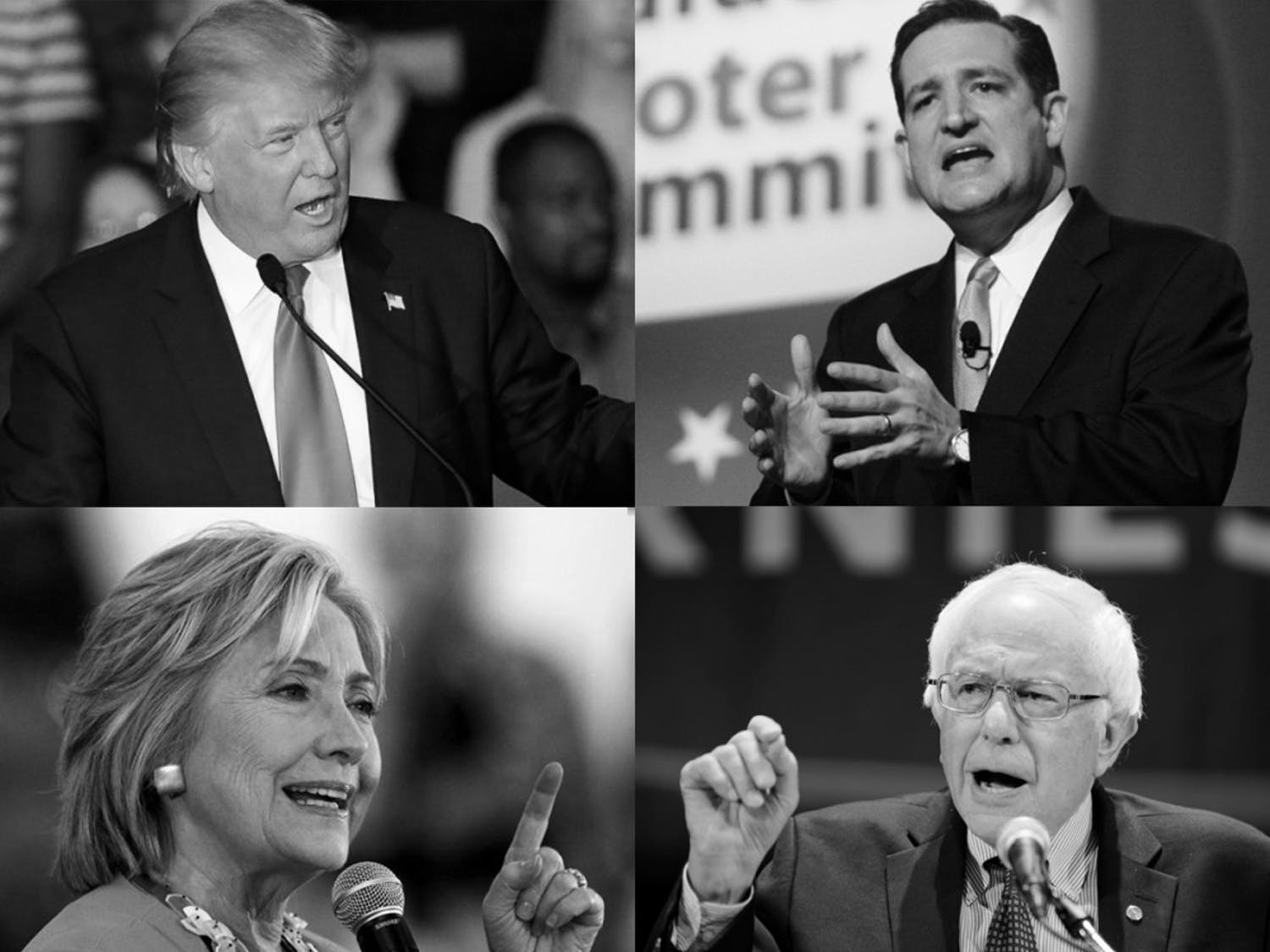 Business mogul Donald Trump (top left) and Vermont Senator Bernie Sanders (bottom right) claimed decisive victories in the New Hampshire primary Tuesday.