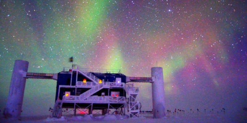 The IceCube South Pole Neutrino Observatory detects a wide range of cosmic particles. Photo by UW-Madison/NSF.