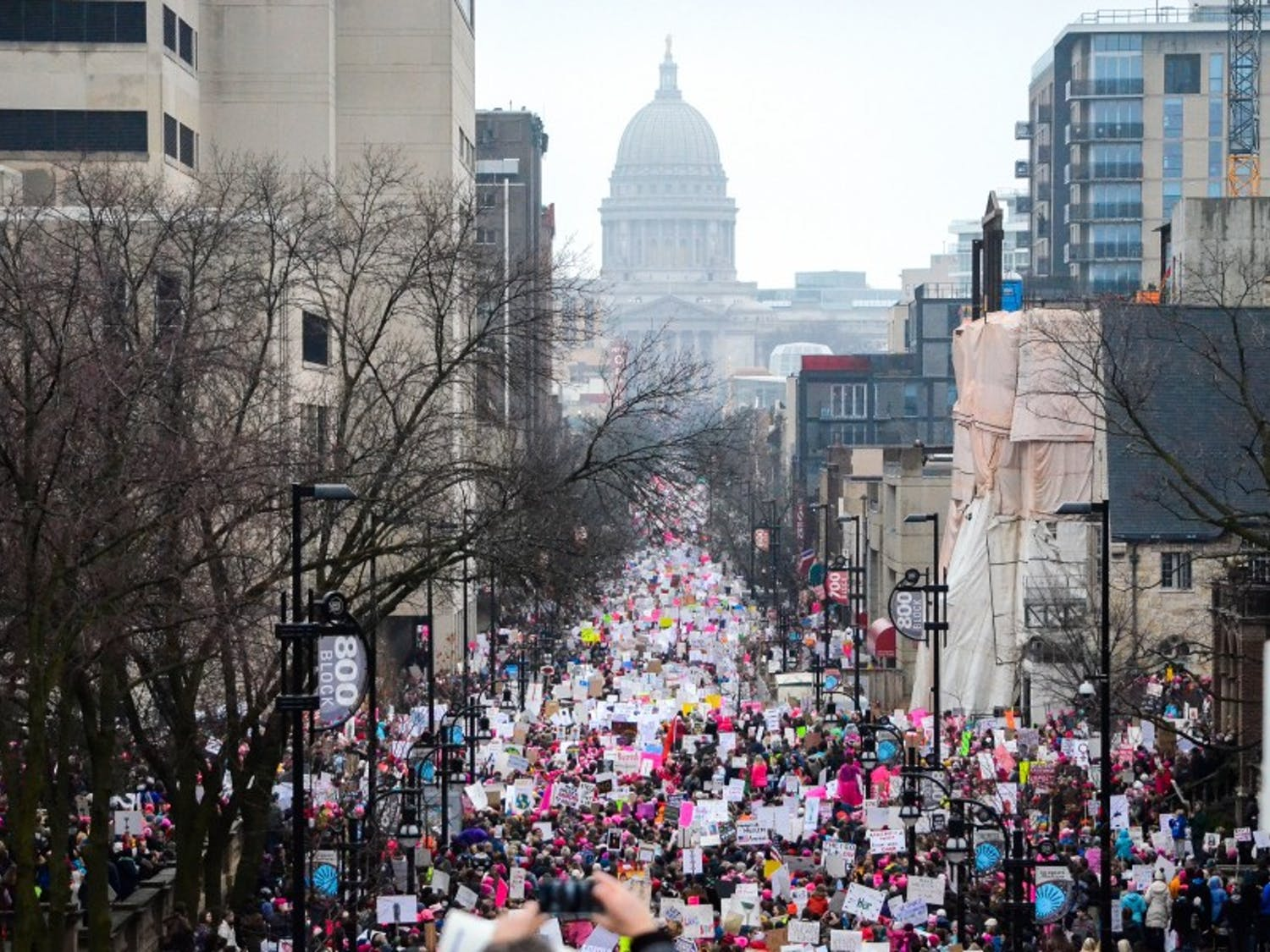 UW-Madison College Democrats praised the Women's March on Madison, which drew 100,000 protesters, while Republicans said they respected the right to peaceful protest.