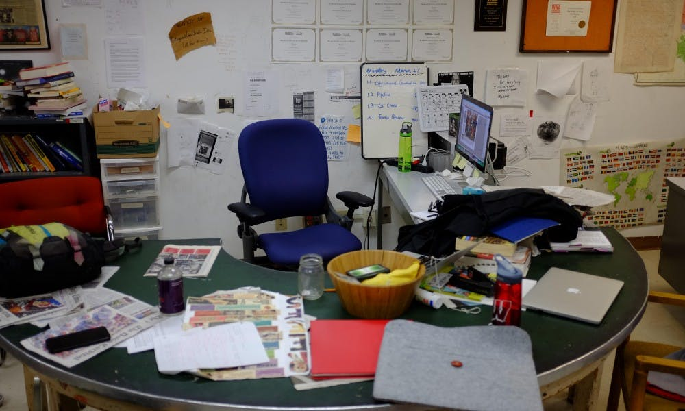 <p>The Cardinal's copy desk has practically been around since the paper's beginning, and Gene Wells was a mainstay for years.&nbsp;</p>