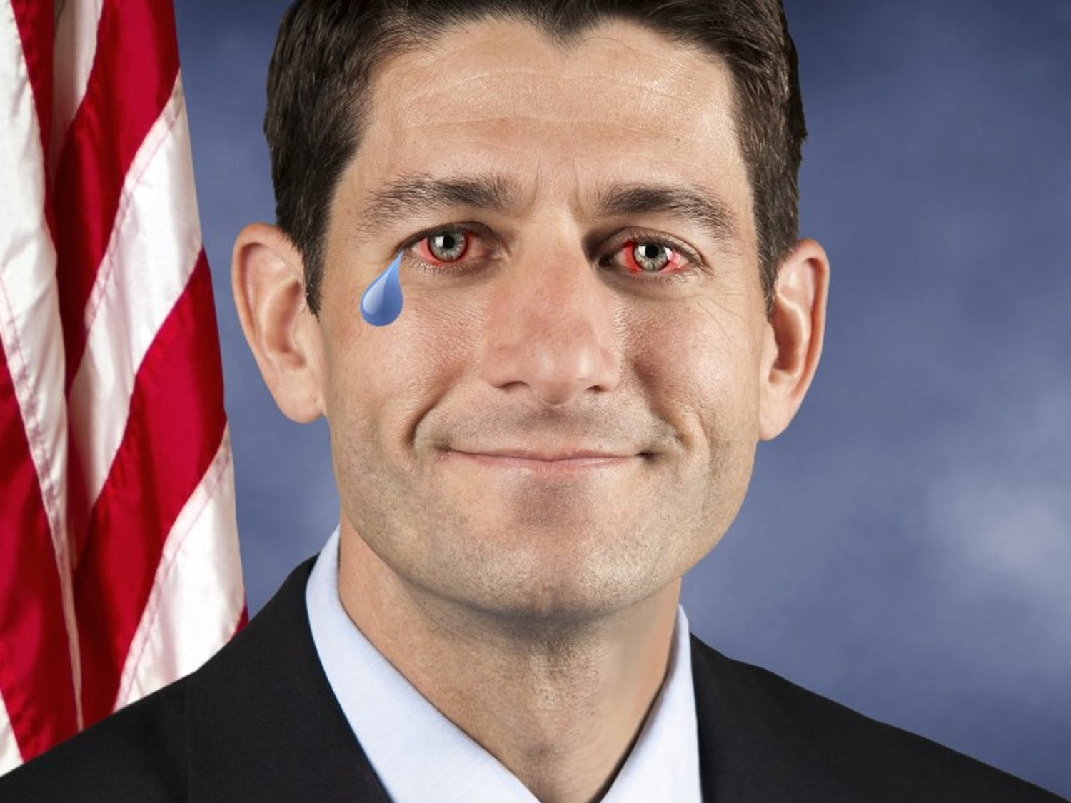 Paul Ryan isn't crying. He doesn't know why you would think that. You jerk.