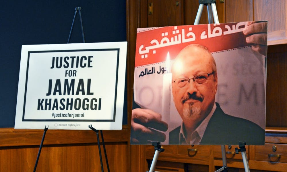 Photo from a conference advocating for justice for Jamal Khashoggi.