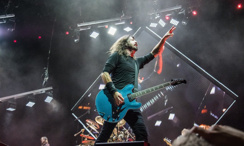 Lead singer of Foo Fighters,Dave Grohl, delivered an impressive performance at the Kohl Center on Tuesday.